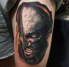 marvelous detailed colorful spartan warrior on forearm