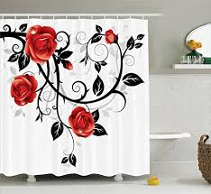 Red And Black Bathroom Accessories Sets Red And Black Rose Bathroom Set Amazon Com