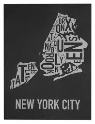 New York Boroughs Map by New York City Typographic Boroughs Map Poster Modern Map Decor