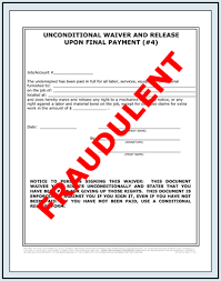 waiver of lien template fraudulent lien waiver release forms