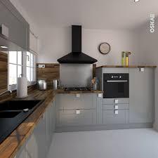 hotte cuisine ouverte cuisine ouverte grise et classique implantation en l plan