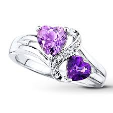 silver pretty rings images Kay amethyst heart ring diamond accents sterling silver jpg
