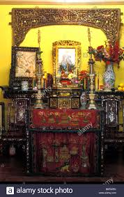 living room buddhist shrine peranakan house singapore stock photo