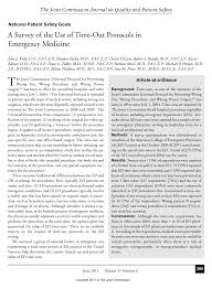 a survey of the use of time out protocols in emergency medicine