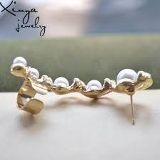 left side earring aliexpress buy women gold plated pearl left side ear