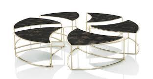 contemporary coffee table wooden round modular telemaque