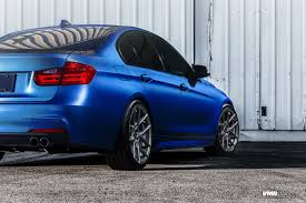 custom black bmw bmw f30 328i estoril blue with vmr v803 gunmetal custom wheels