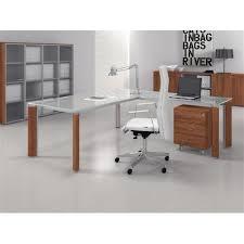 bureau en verre table bureau verre fill avec retour mobilier de bureau