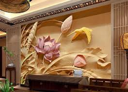 wholesale wood carving lotus mural tv backdrop 3d wallpaper flower