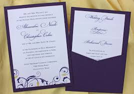 pocket wedding invitations purple yellow floral swirl clutch pocket wedding