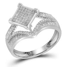 10k wedding ring 10k white gold micro pave real engagement ring 0 33ct
