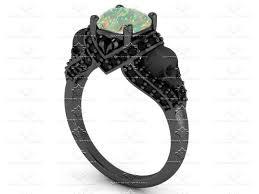 black gold engagement ring amora opal black diamond gold skull engagement ring