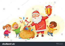 santa claus brings gifts children merry stock vector 339464450