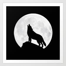 howling wolf moon print by badbugsart society6