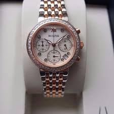 bulova ladies diamond bracelet watches images Bulova 34 diamond rose gold steel quartz chronograph women 39 s jpg
