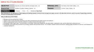 Tally Resume Sample by Tally Clerk Cover Letter U0026 Resume