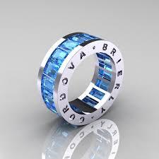 blue men rings images Mens modern 10k white gold blue topaz channel cluster infinity jpg
