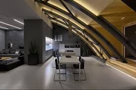 cozy loft with an arched ceiling and a masculine vibe