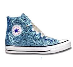 cinderella light up shoes size 7 8 sparkly glitter converse all stars light blue high top wedding shoes