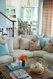 Gray And Turquoise Living Room Orange And Aqua Blue Coastal Living Room Jenna Buck Gross Hgtv