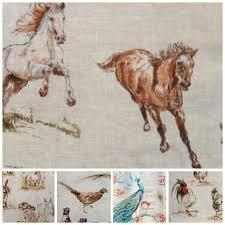 Animal Print Upholstery Fabric Vintage Linen Look Country Side Animals Digital Print Designer