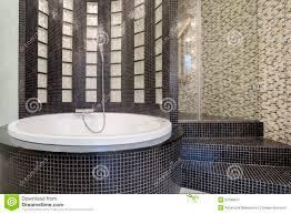 Round Bathtub Round Bathtub Inside Black Bathroom Stock Photo Image 52186547