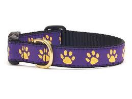 paw print ribbon purple and gold paw print ribbon dog collar beaujax boutique