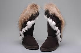 womens ugg boots fox fur ugg 8688 fox fur boots chocolate ugg xz10160176