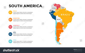 North South America Map Outline by South America Map Infographic Slide Presentation Stock Vector