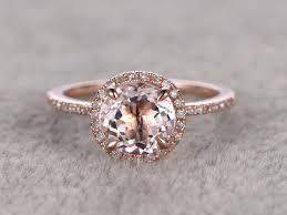 ring diamond wedding 1 2 carat oval morganite engagement ring diamond promise ring 14k