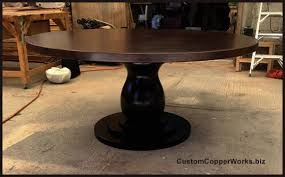 Wood Table Base by Round Copper Dining Table Distressed Wood Pedestal Table Base 1
