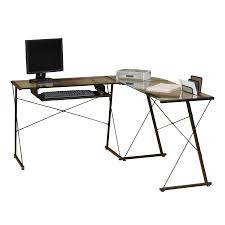Black Glass L Shaped Desk by Glass L Shaped Desk