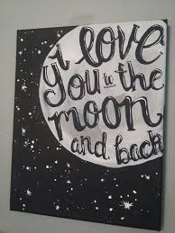 painting canvas moon i you to the moon and back