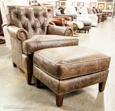 Wood And Leather Chair With Ottoman Design Ideas Furniture Vintage Brown Leather Tufted Armchair With Square