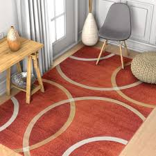 Orange Modern Rug Circo Orange Modern Geometric Rings Circles Lines Carved