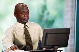 Michael Jordan Crying Meme - michael jordan crying and looking at his meme crying michael