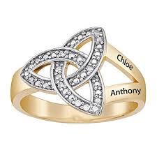 diamond name rings images White diamond trinity knot engraved couple 39 s name ring 8063369 hsn jpg