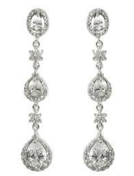 Pear Chandelier Alina Three Pear Drop Chandelier Earrings Cubic Zirconia
