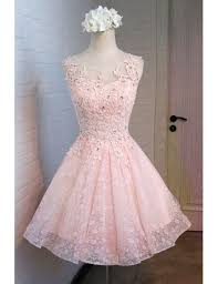 vintage pink homecoming dresses short a line lace scoop neck tulle