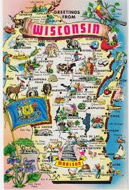 Maps Wisconsin by Vintage Postcards States Maps Usa Wisconsin By Heritagepostcards