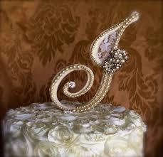 pearl monogram cake topper custom monogram pearl cake topper cake topper with brooch bling