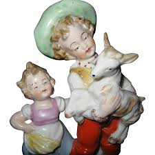early german hand painted porcelain figurine young children with