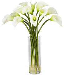 Calla Lily Vase Life Mini Calla Lily Flower Arrangement Traditional Artificial