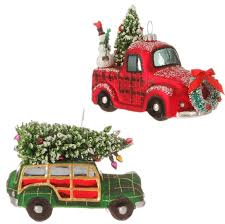 raz imports car and truck glass ornaments