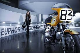 bmw motorcycle vintage photos of wsbk biker manuela raffaeta at the bmw museum with