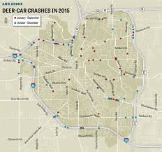 Map Of Ann Arbor Michigan Deer Involved Traffic Crashes In Ann Arbor Jump 73 Mlive Com