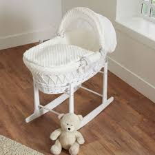 White Wicker Desk by Cuddles Collection White Wicker Moses Basket Bundle Dimple Cream