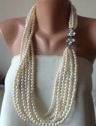 chunky pearl crystal necklace images Chunky layered ivory pearl necklace with swarovski crystal brooch jpg