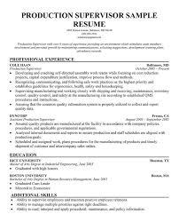 Warehouse Supervisor Resume Samples Sample Production Resume Management Production Coordinator Resume