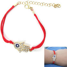 lucky charm red bracelet images Evil eye hamsa crystal cz gold plated hand bracelet red string jpg